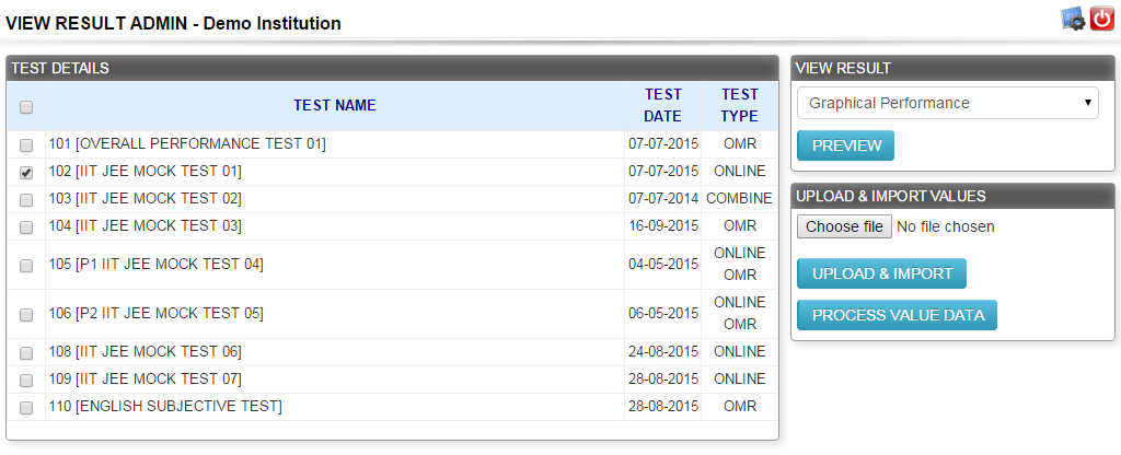 How to Upload Online Test Result