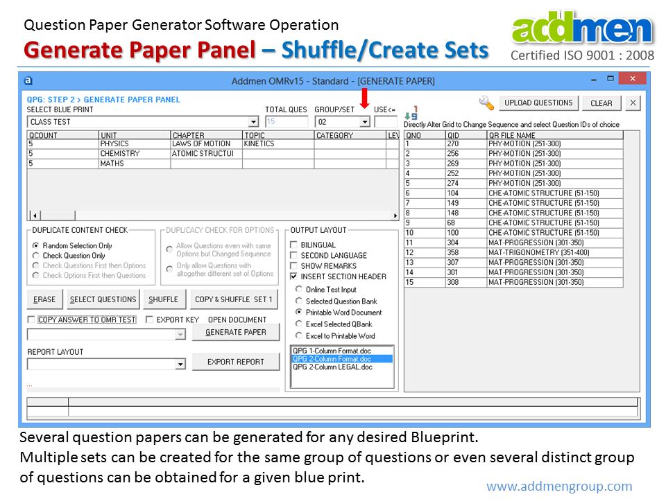 Question Paper Shuffling Software