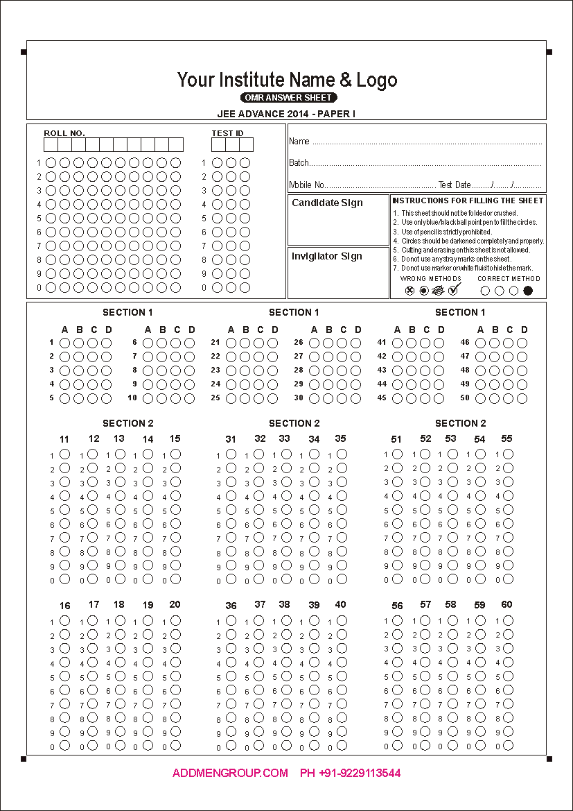iit jee omr sheet 2014 pattern